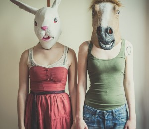 mask rabbit and horse mask lesbian couple at home